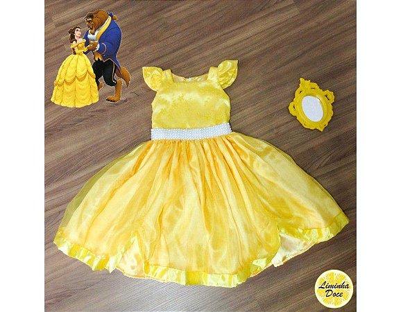 Vestido Tema A Bela e a Fera - Infantil