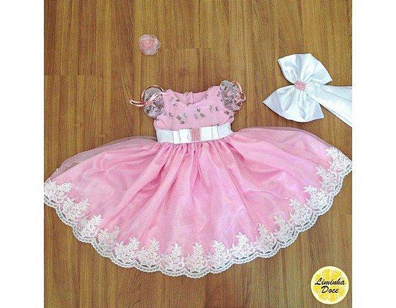Vestido de Daminha Rosa com Tule Bordado - Infantil