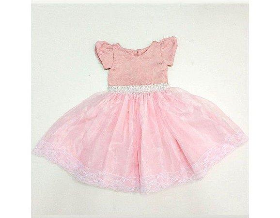 Vestido de Daminha Rosa em Jacquard - Infantil