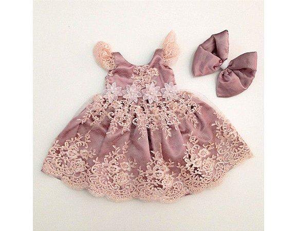 Vestido de Daminha de Luxo Rose com Pérola - Infantil