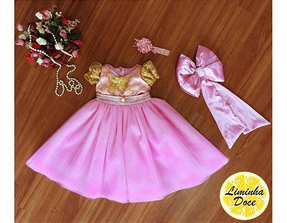 Vestido de Daminha Rosa de Renda Bordada - Infantil