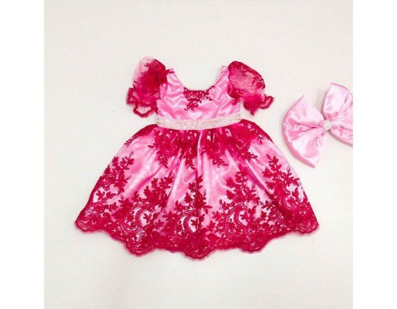 Vestido de Daminha de Luxo Rosa com Strass - Infantil