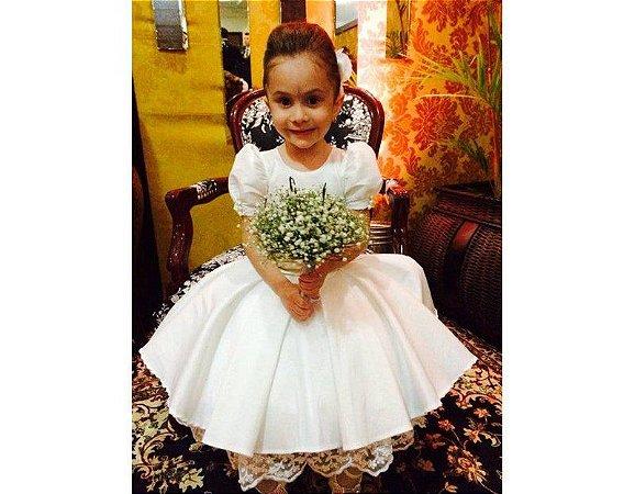 Vestido para Daminha com Manga Princesa - Infantil