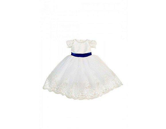 Vestido de Daminha Branco com Azul Marinho - Infantil