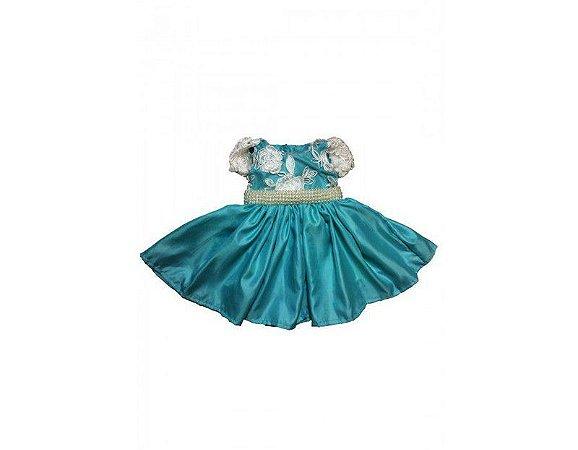 Vestido de Daminha Azul com Renda - Infantil