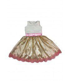 Vestido de Daminha Branco, Dourado e Rosa - Infantil