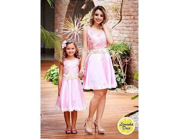 Vestido Social Rosa de Luxo - Tal Mãe Tal Filha