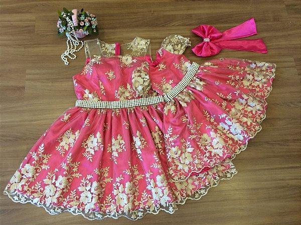 Vestido de Tule Bordado Pink - Mãe e FIlha