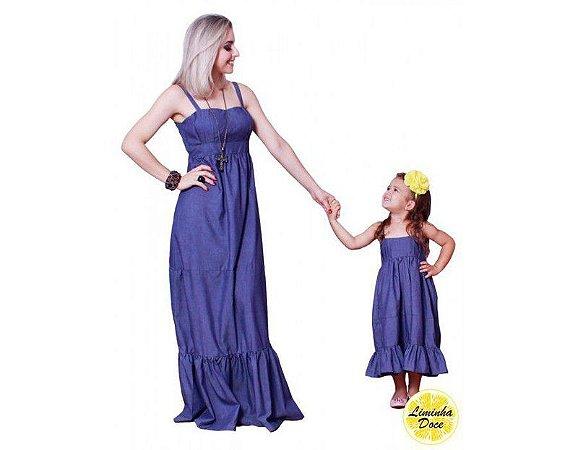 Vestido Longo Jeans - Tal Mãe Tal Filha