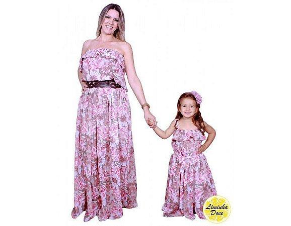 Vestido Longo Floral Rose - Tal Mãe Tal Filha