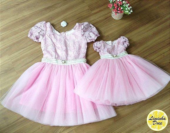 Vestido de Festa Renda Rosa - Tal Mãe Tal Filha