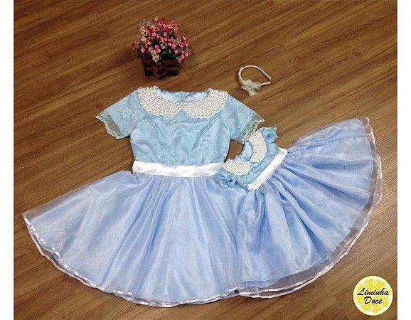 Vestido Azul para Festa - Mãe e Filha