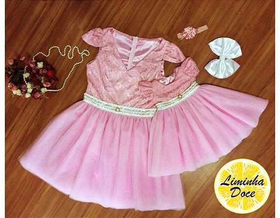 Vestido de Luxo Renda Rosa - Mãe e Filha