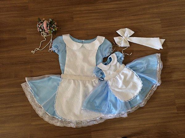 Vestido Alice no País das Maravilhas de Luxo - Tal Mãe Tal Filha