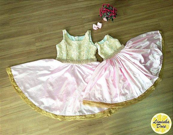 Vestido Social Rosa e Dourado - Tal Mãe Tal Filha