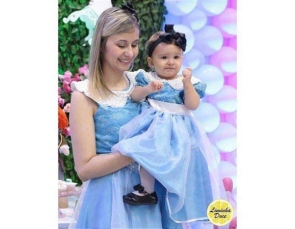 Vestido Social Azul com Renda - Tal Mãe Tal Filha