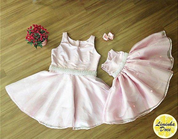 Vestido de Festa Rosa Claro - Tal Mãe Tal Filha