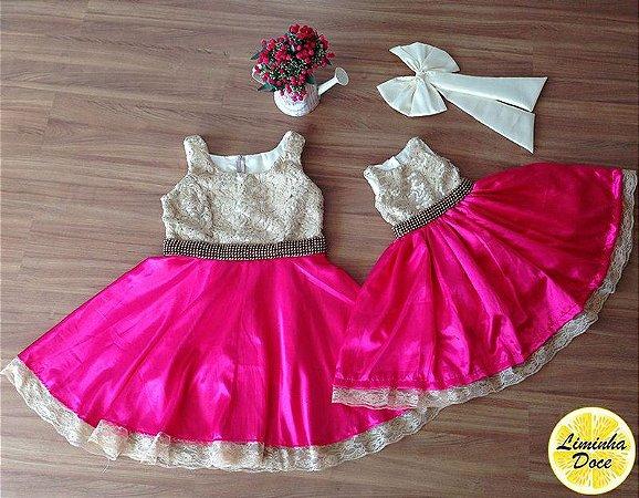 Vestido Dourado com Rosa Pink - Mãe e Filha