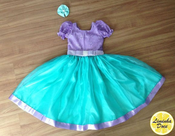 Vestido da Princesa Ariel de Luxo - Infantil