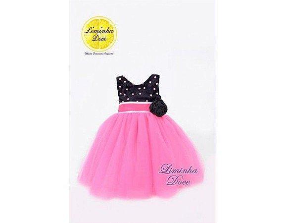Vestido de Festa Pink com Preto - Infantil