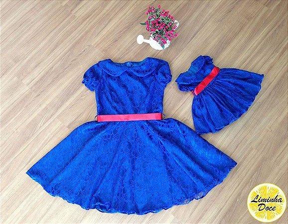 Vestido de Renda Azul Royal - Mãe e Filha
