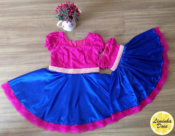 Vestido Rosa Pink com Azul Royal - Mãe e Filha