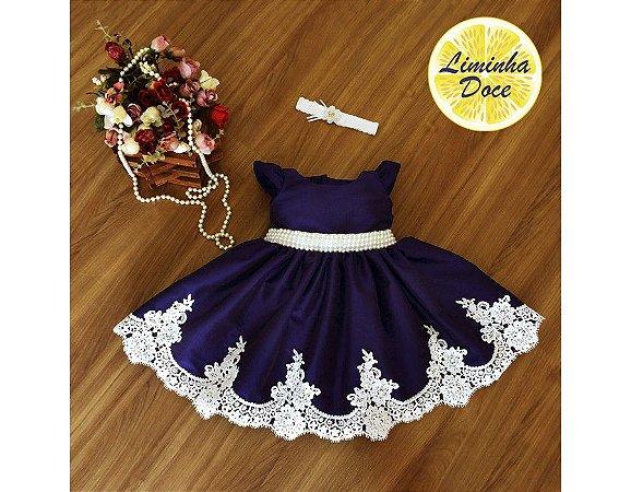 Vestido de Daminha Azul Marinho - Infantil