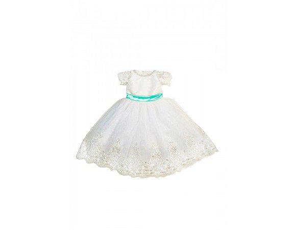 Vestido de Daminha Branco com Verde Tiffany - Infantil