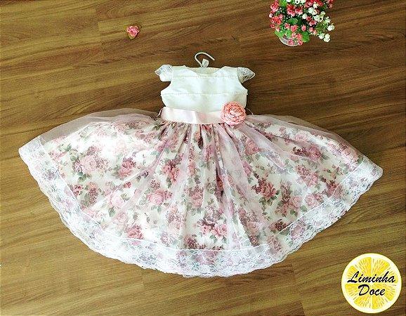 Vestido de Daminha Branco e Floral Rose - Infantil - Liminha Doce ... 780e114189b