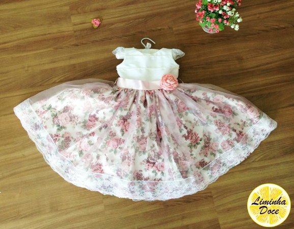 Vestido de Daminha Branco e Floral Pink - Infantil