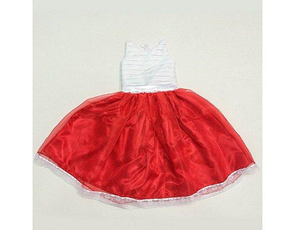 Vestido de Daminha Branco e Vermelho - Infantil