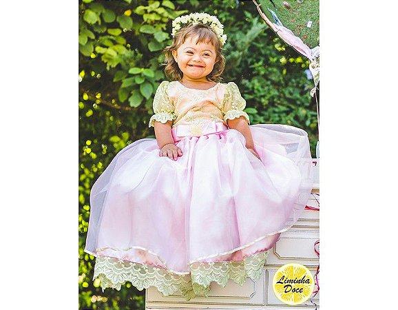 Vestido de Daminha Rosa e Amarelo Lima - Infantil