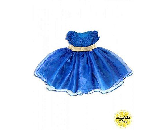 Vestido de Festa Azul com Dourado - Infantil