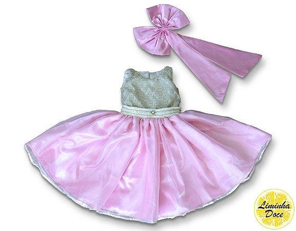 Vestido Infantil de Daminha Dourado com Rosa