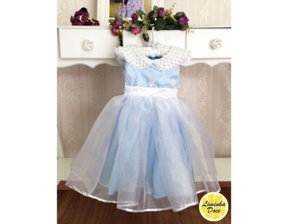 Vestido Social Azul com Renda Branca - Infantil