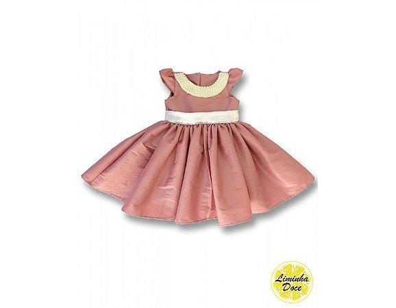 Vestido Social Rosa com Pérolas - Infantil