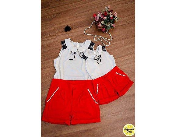 Conjunto Short Vermelho e Blusinha Branca com Renda - Mãe e Filha