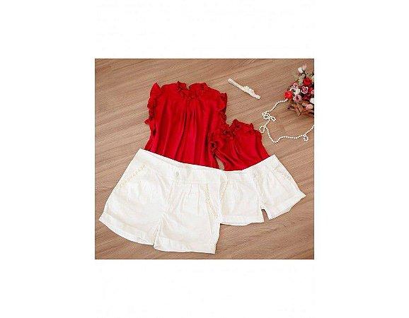 Shorts Branco e Blusa Vermelha - Mãe e Filha