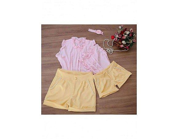 Conjunto Shorts Amarelo e Blusa Rosa - Mãe e Filha