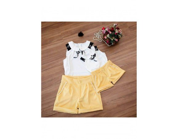 Conjunto Shorts Amarelo e Blusa Branca - Mãe e Filha