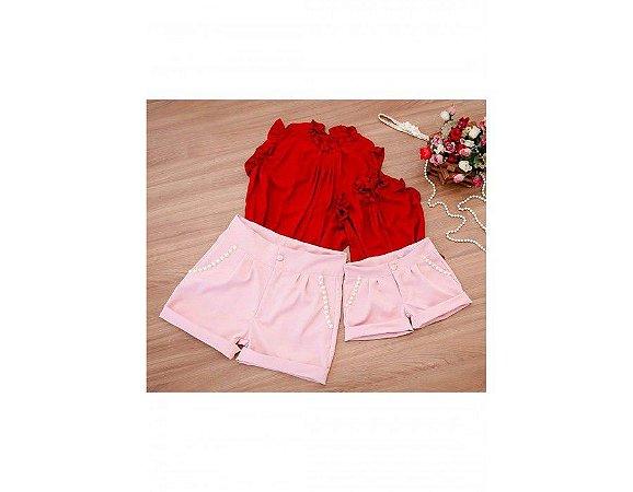 Conjunto Shorts Rosa e Blusa Vermelha - Mãe e Filha