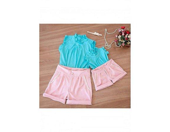 Conjunto Shorts Rosê e Blusinha Azul Claro - Mãe e Filha