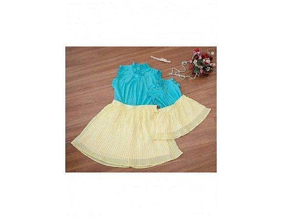 Conjunto Saia Plissada Amarela e Blusinha Azul - Mãe e Filha
