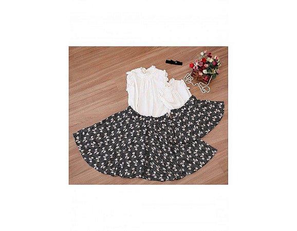 Conjunto Saia Estampada Laços e Blusinha Branca - Mãe e Filha