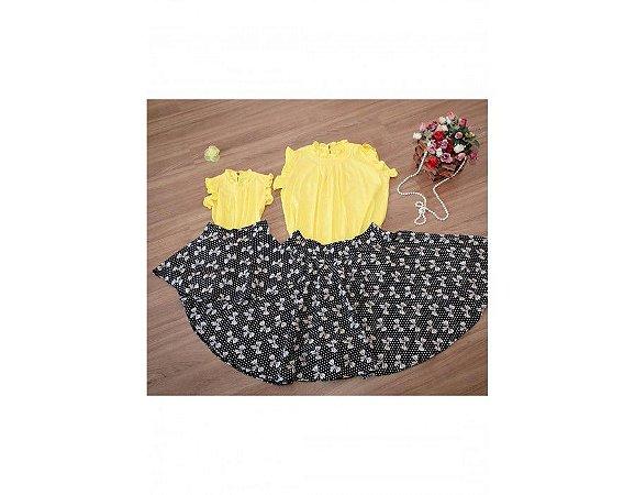 Conjunto Saia Estampada Laços e Blusinha Amarela - Mãe e Filha