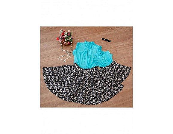 Conjunto Saia Estampada Laços e Blusinha Azul - Mãe e Filha