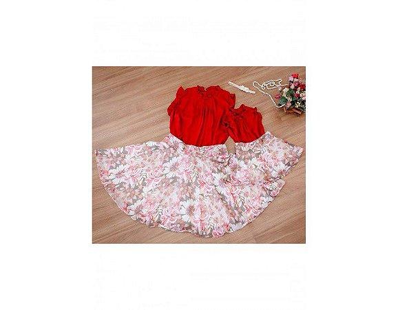 Conjunto Saia Estampada Floral Rosa e Blusinha Vermelha - Mãe e Filha