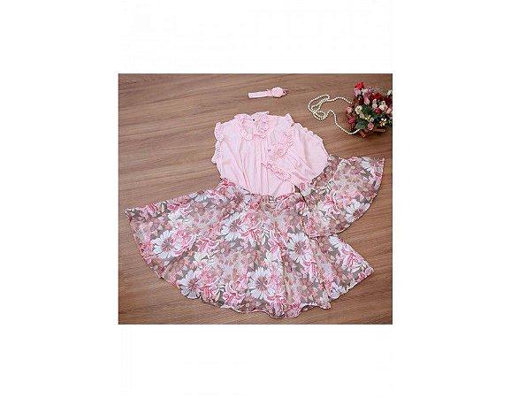 Conjunto Saia Estampada Floral Rosa e Blusinha Rosa - Mãe e Filha