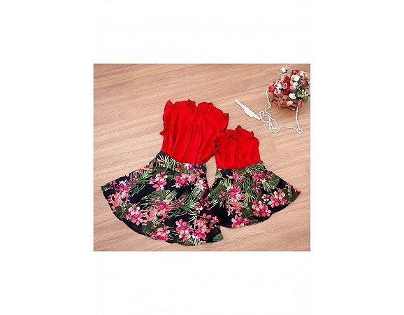 Conjunto Saia Estampada Floral Preto e Blusinha Vermelha - Mãe e Filha