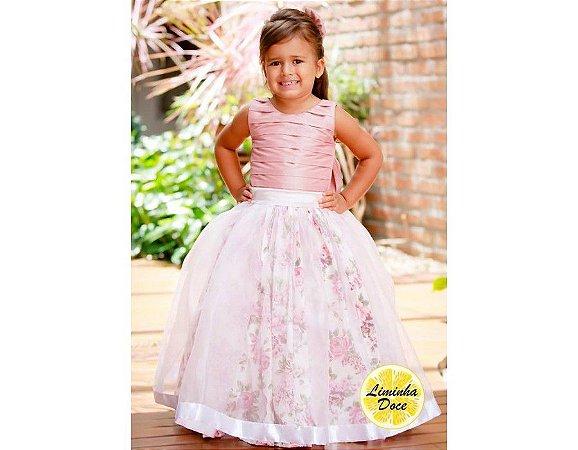 Vestido de Daminha Rose com Floral - Infantil
